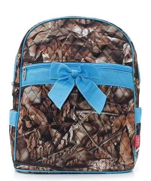 Camouflage Print Quilted Backpack Turquoise Blue Trim