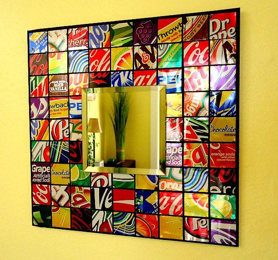 DIY Soda can mosaic mirror. Just need a wood board / foam board, wash & cut up soda cans & glue down, then glue mirror on. Easy! I would cut tin squares a little smaller.