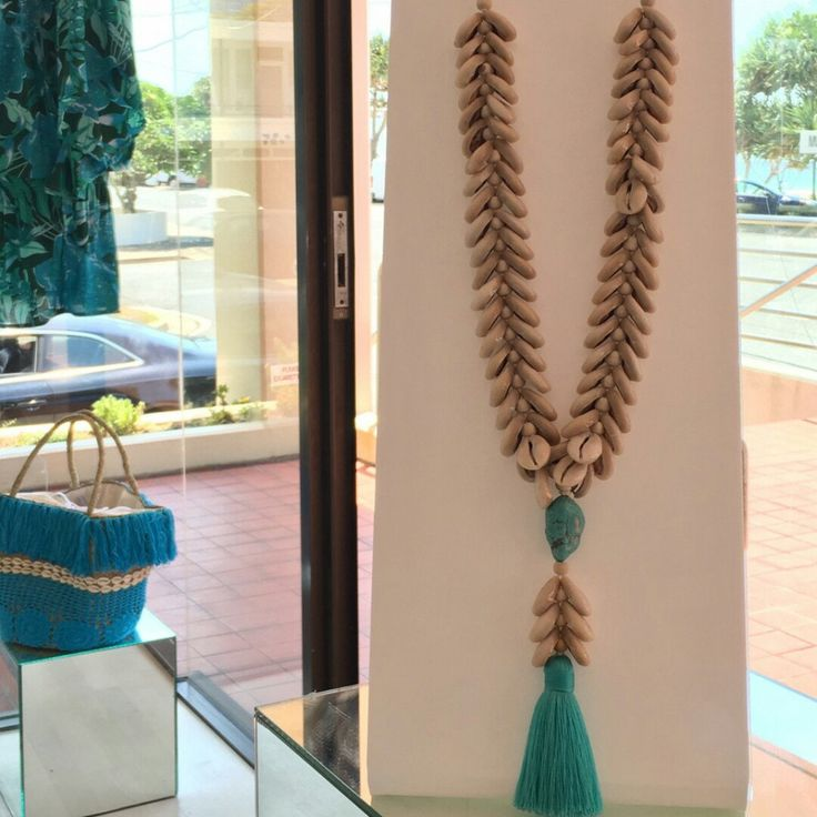 Stunning new cowrie shell tassel necklace in our collection
