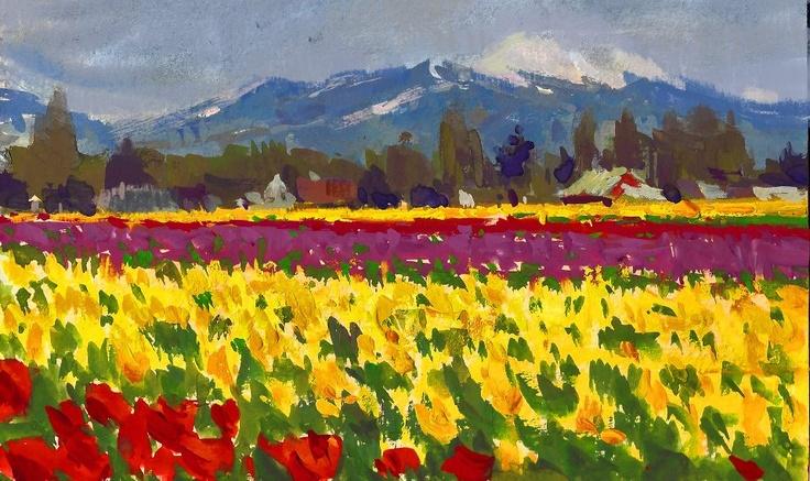 Seattle Tulip Fields 6x9 Gouache On Watercolor Block