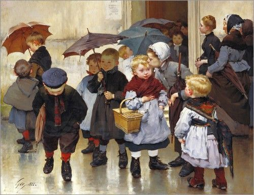 """""""Leaving the Class"""", 1888. Henri Jules Jean Geoffroy (1853-1924), French painter."""