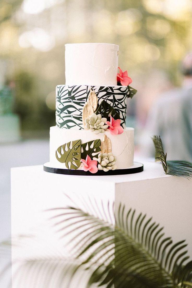 graphic wedding cake ideas with tropical accents - http://ruffledblog.com/urban-chic-art-gallery-wedding-in-ontario