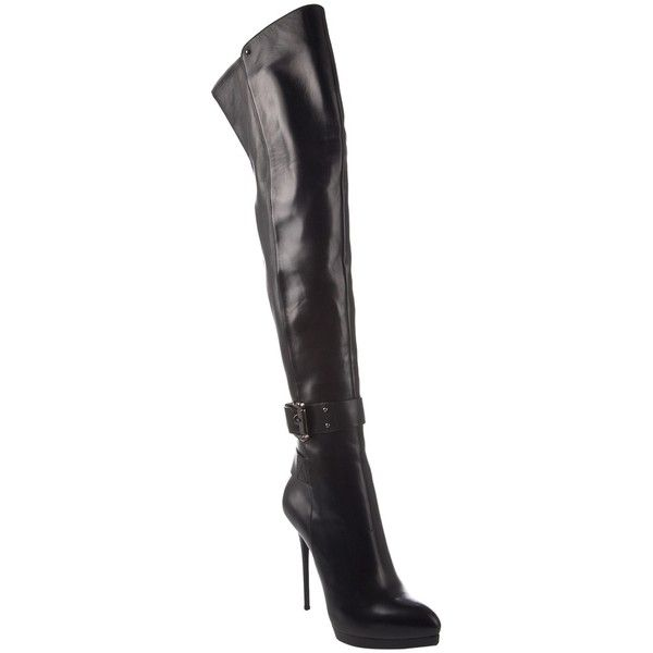 GIANMARCO LORENZI Stiletto heel boots ($1,271) ❤ liked on Polyvore featuring shoes, boots, kozaki, women, stretch thigh high boots, leather boots, black leather shoes, black stretch boots and black thigh high boots
