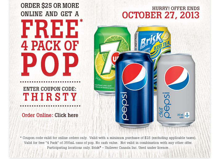 4 free cans of pop !!
