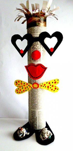 Fantasiefiguren u. Girlande aus Zeitungspapier - Fasching-basteln - Meine Enkel und ich