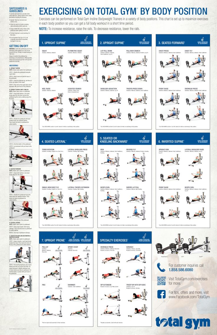 Total gym exercises printable incline