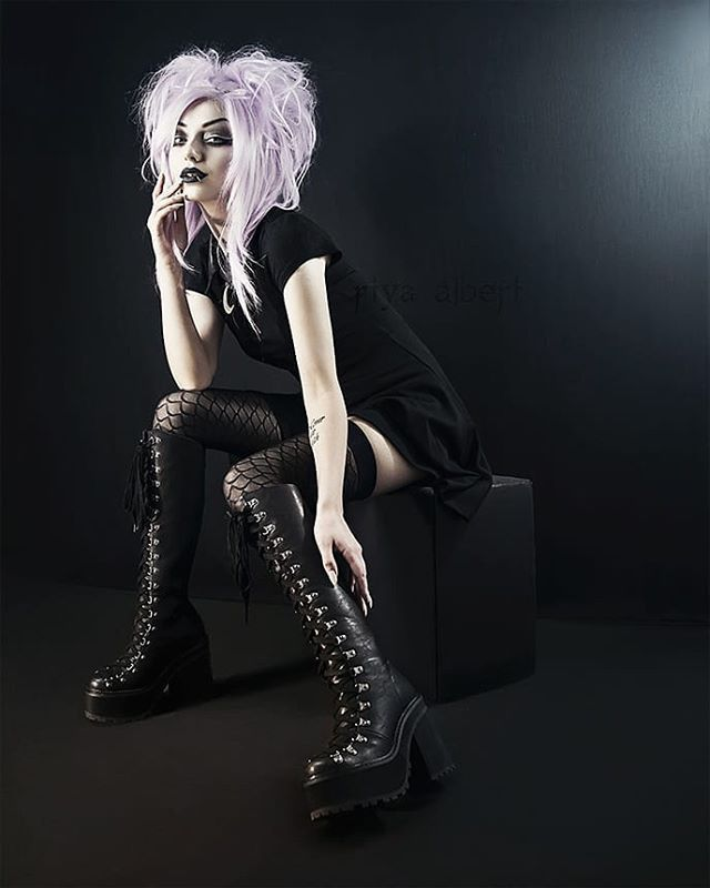 Boots on a lovely Goth girl   Dark Goth
