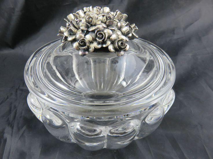 Bleikristall Bonboniere Glasschale mit Deckel Rosen Dekor Silber Punze R 835