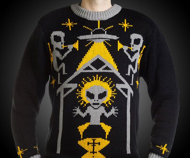 alien nativity ugly christmas sweater