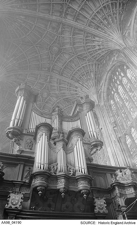 AA98/04190 Interior view of King's College ChapeI showing the organ case and rib vaulting on the ceiling. Place 	Kings College Chapel, Cambridge, Cambridge, Cambridgeshire  Date 	1945 - 1980 Photographer: Eric De Mare