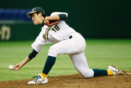 京都学園大戦の5回から登板、好投した専大・高橋=東京ドーム ▼10Jun2015共同通信 大学野球、専大など8強出そろう 全日本選手権第3日 http://www.47news.jp/CN/201506/CN2015061001001497.html #Japan_National_Collegiate_Baseball_Championship_2015