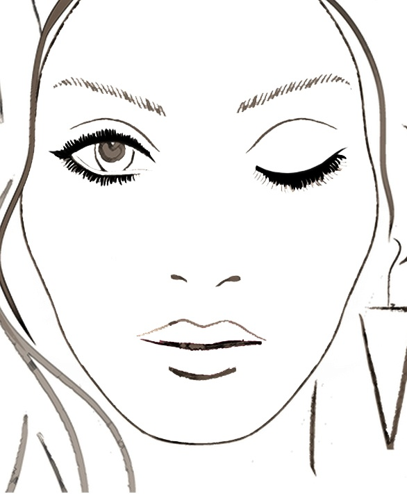Blank Face Chart 1 Eye Closed Contouring Presentation In 2018 Makeup Chartakeup