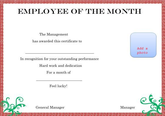 photograph about Printable Employee of the Month Certificates referred to as Pin upon Printing