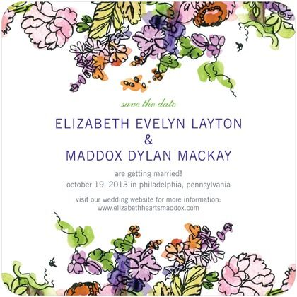 Painted Garden - Signature White Textured Save the Date Cards - Bird and Banner - Velvet Rope - Purple : Front