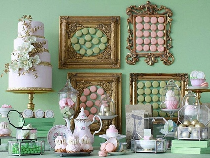 Perfect color match, and a unique way to display the macaroons in frames{Inspiration} Wedding Dessert Buffets | Austin Weddings | Austin Wedding Blog | Candy Buffet Weddings and Events | Scoop.it