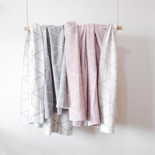 Jamie Kay Reversible Geo Cot Blanket      100% cotton       Beautiful soft light grey      Size - 130cm x 100cm    So soft & beautifully made!      Can be easily doubled over for a bassinet blanket     One side is grey with white a geometric design & the other side is white with a grey geometric design.    XL throw size $165 available.