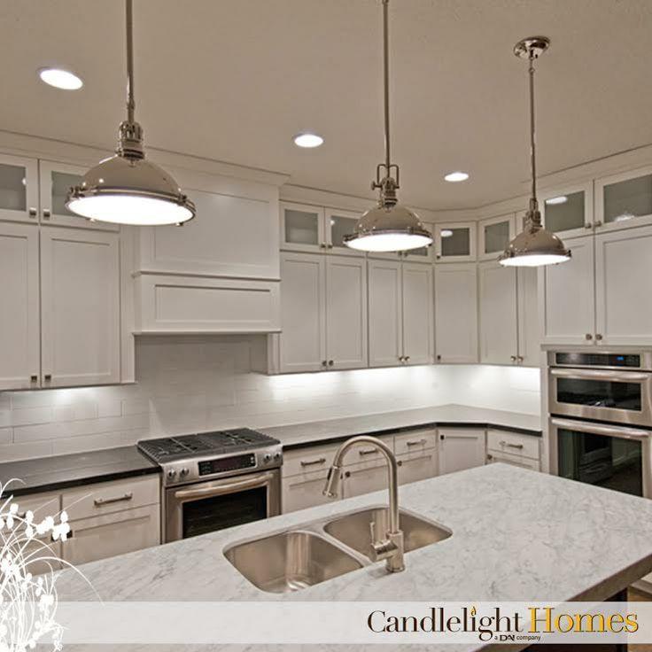 CandlelightHomes.com, Utah, Homebuilder, Kitchen, Pendant Lights, White