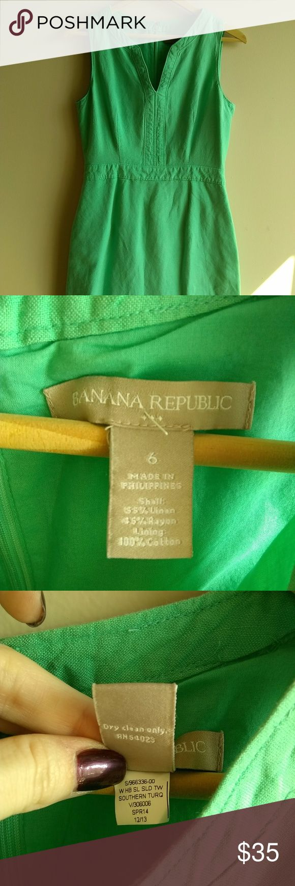 """Banana Republic Turquoise Linen Sheath Banana Republic Turquoise Linen Sleeveless Sheath Dress. Fully lined, linen blend, hidden back zipper. Tag states """"Turquoise"""", but the color is more of Aqua in person. Fits a petite frame. Great for summer weekends, casual workplaces, or tropical vacations. Banana Republic Dresses"""