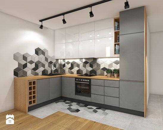 Aneks kuchenny - Mała otwarta kuchnia w kształcie litery l, styl nowoczesny - zdjęcie od Przestrzenie