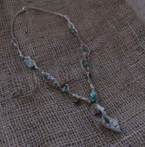 Organic Macrame Crystal Necklace Sea Shell Hemp by tinkertailoruk