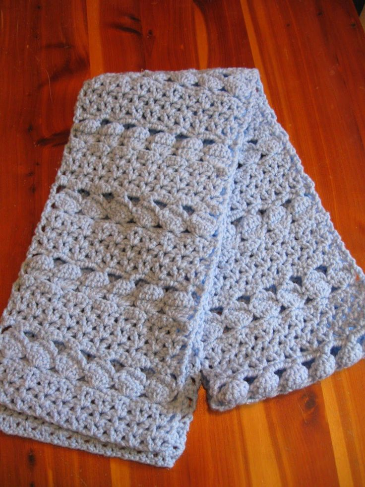 Haven Cottage Crafts: Cozy Blue Scarf. Adjustable (ch x3 + 8). Req. st: ch, sc, dc, dc5tog. Worked flat. Moderate tracking.