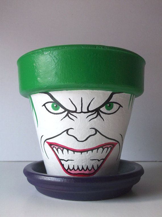Joker Dark Knight Painted Flower Pot Gift Set Batman by GingerPots, $20.00