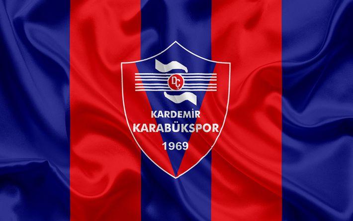 Descargar fondos de pantalla Kardemir karabukspor, un turco emblema del club de fútbol, Karabukspor logotipo azul de Seda roja de la bandera, karabuk, Turquía, turco Campeonato de Fútbol
