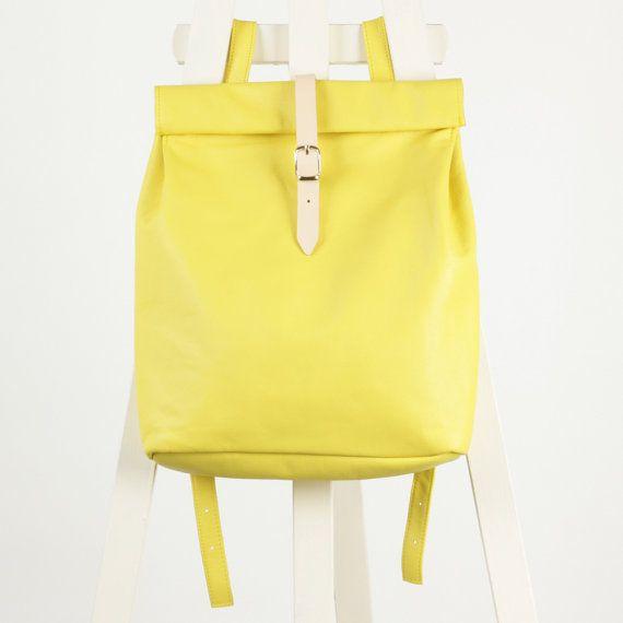 Citroen geel Lederen rugzak rolltop rugzak / te bestellen