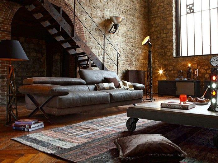 Wohnzimmer Lampe Industrielles Mit Wandleuchten Und Stehlampe