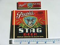 Original Vintage PEOPLES Stag Beer Label Brewing Duluth Minnesota