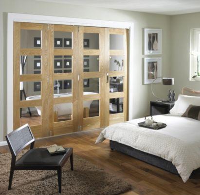 b q 4 door room divider 4 light glazed oak 244cm w. Black Bedroom Furniture Sets. Home Design Ideas