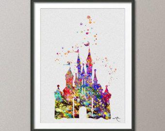 chteau de disney cendrillon disney princesse chteau aquarelle darchivage impression fine art print princess