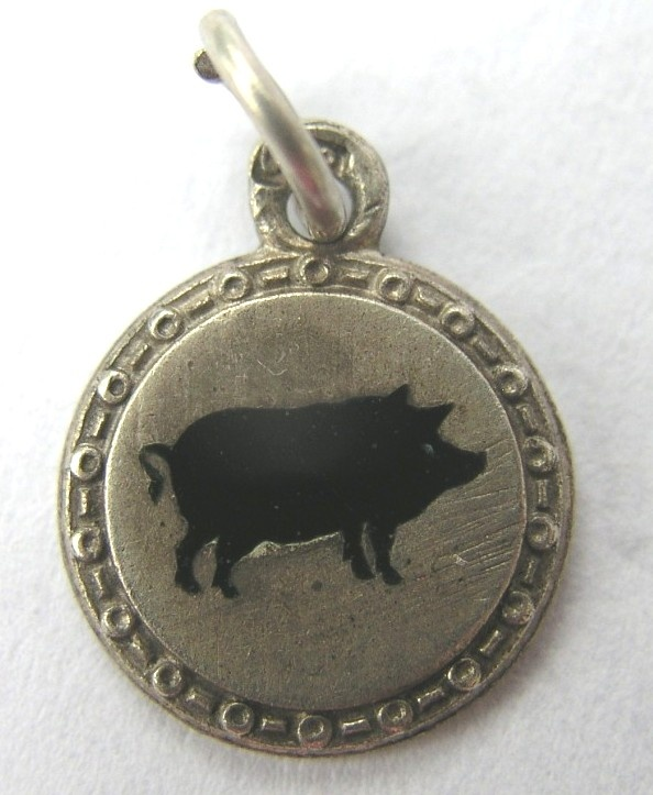 VINTAGE GERMAN 1920s SILVER ENAMEL LUCKY PIG CHARM--must get this