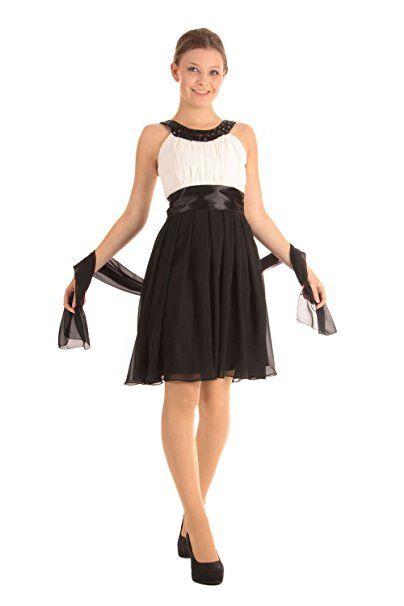 5ebc2650937e38 G.O.L. - Festliches Chiffon-Kleid Mädchen, schwarz-weiß - 1368600, Größe 164