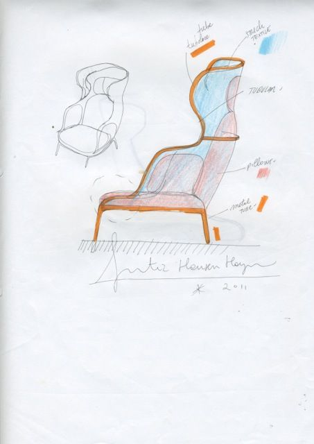 Sketch by Jaime Hayon of the Ro™ lounge chair