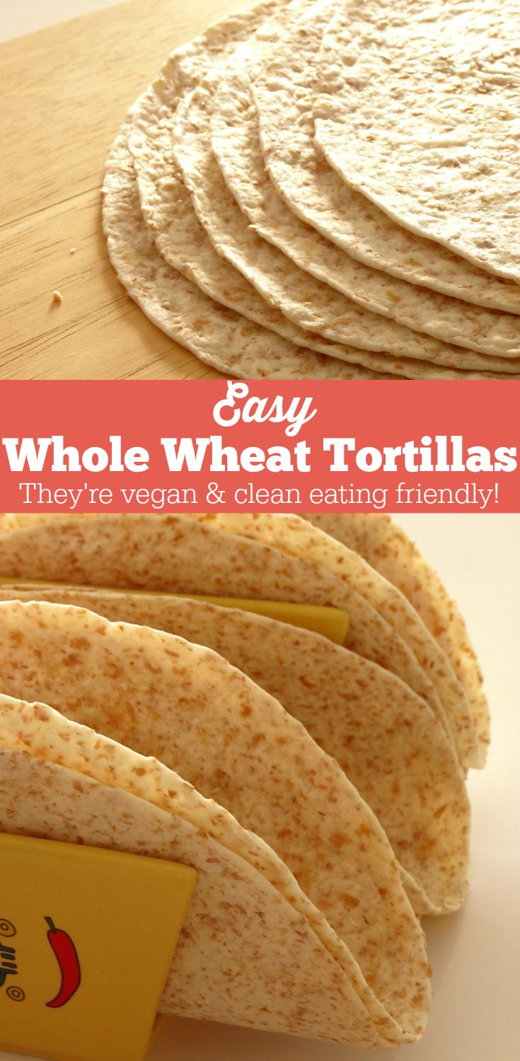 Easy Vegan Whole Wheat Tortillas Recipe - these soft whole wheat tortillas take just 1 hour to make and only require three simple ingredients! They're pretty healthy and much better for you than the ones you get in the store. I'll never buy tortillas ever