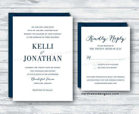 Modern Navy Blue Wedding Invitation and Reply Card Dark Blue