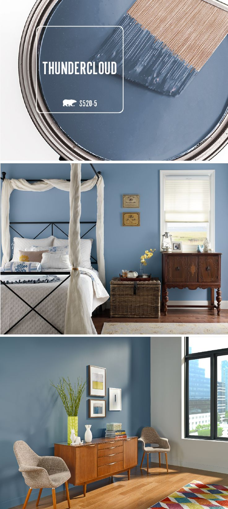 The mysterious and powerful tone of BEHR Thundercloud makes the most wonderful inspiration when it comes to taking design risks.  Check out these stylish spaces for ideas on how to incorporate bold shades into your own home.