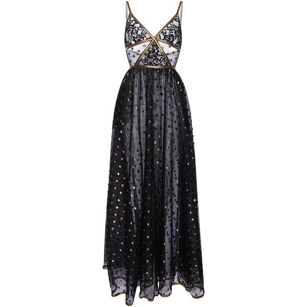 Elie Saab     Lace Maxi Dress With Gold Embroidered Detail (23,715 PEN) ❤ liked on Polyvore featuring dresses, dresses/gowns, elie saab, gowns, black, gold maxi skirt, maxi dresses, lace maxi dress, polka dot maxi skirt and lace dress
