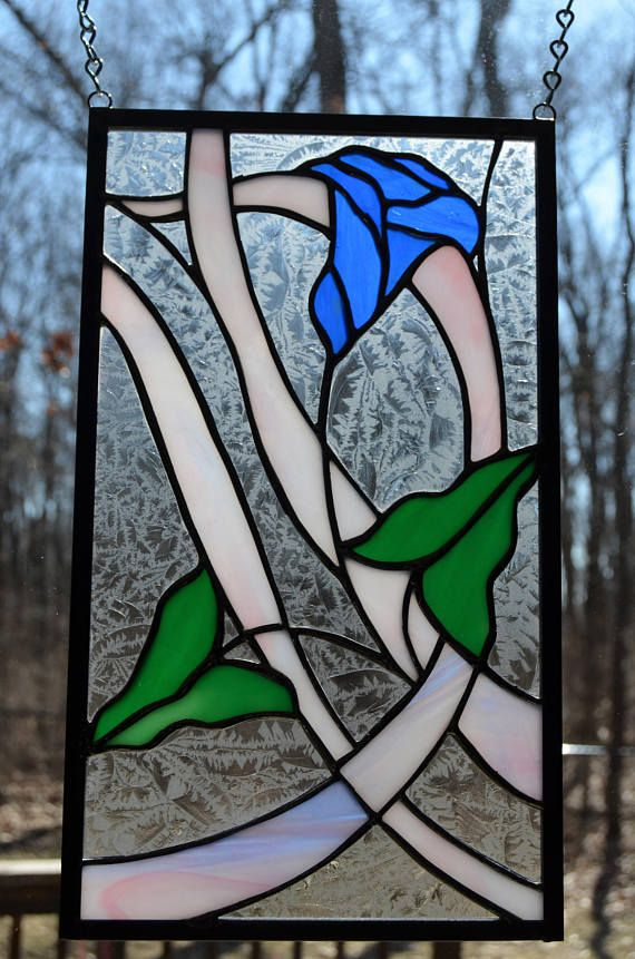 Stained Glass Modern Morning Glory Panel 7 X 12 Ventanas De Vidrio Vitrales Ventanas