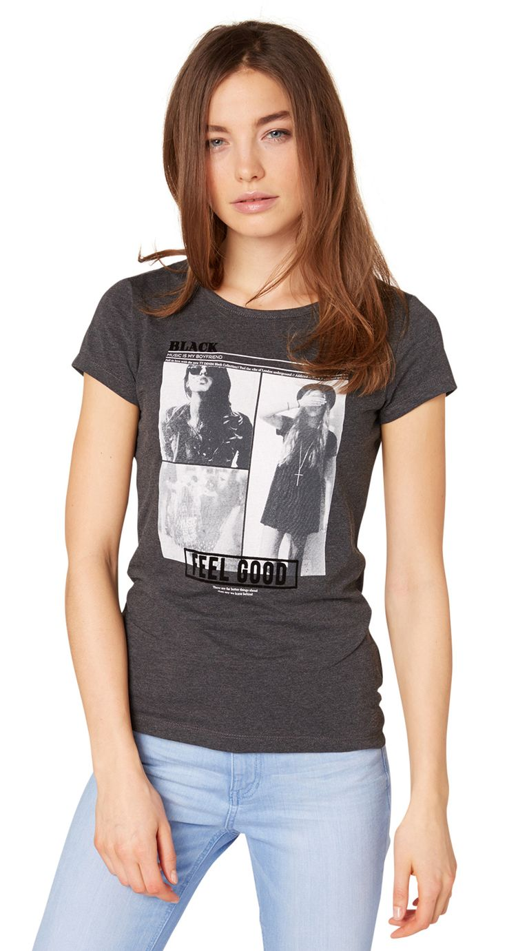 Tee-shirt avec imprimé floqué Pour femmes (de couleur unie avec imprimé, manches courtes et encolure arrondie) - TOM TAILOR