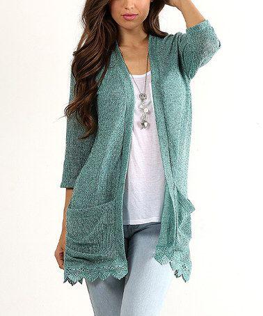 Look what I found on #zulily! Jade Crochet-Hem Open Cardigan - Plus #zulilyfinds