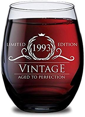 Amazon 1993 25th Birthday Gifts For Women And Men Wine Glass