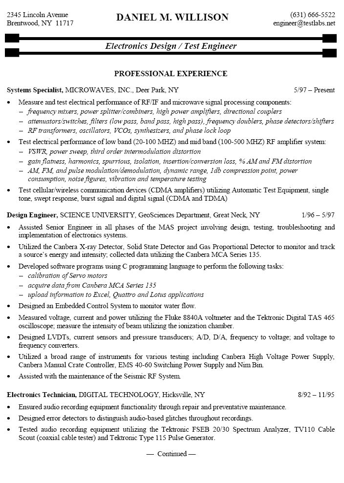 electronic technician sample resume for electronics test free digital example