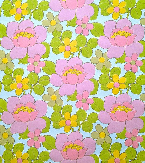 retro vintage 70s wallpaper by vintage4kids on Etsy, $13.60