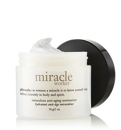 Miracle Worker moisturizer from Philosophy. Like gold in a jar, this stuff. So good.