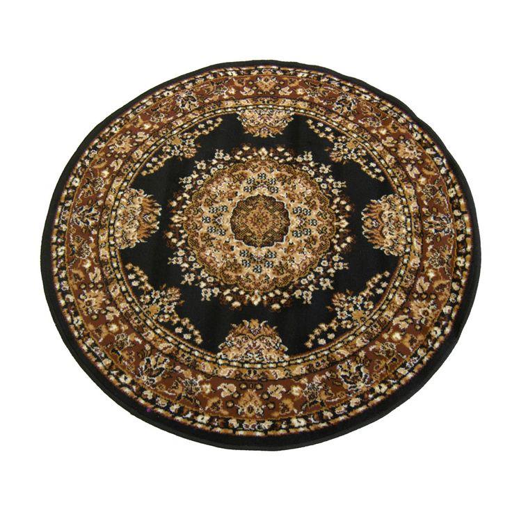 Marvel Traditional Black Rug Circle 120cm