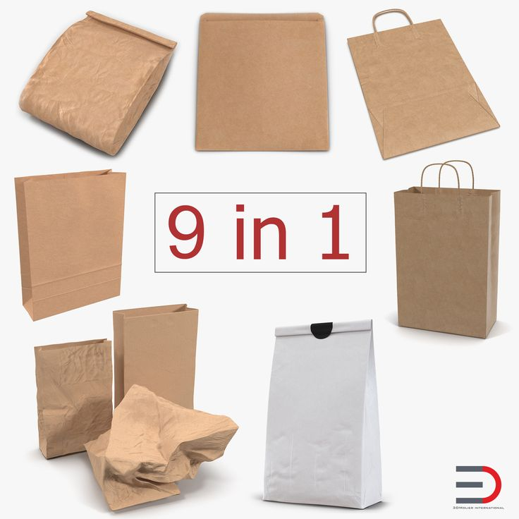 3D Paper Bags Collection 4