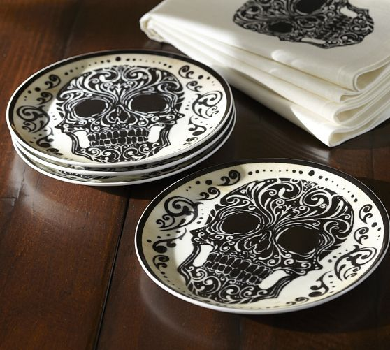 I don't really want these, but color me impressed Potterybarn! Day of the Dead Porcelain Salad Plate, Set of 4 - #dayofthedead #potterybarn #plates