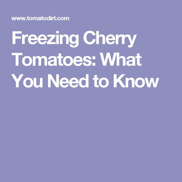 Freezing Cherry Tomatoes: What You Need to Know